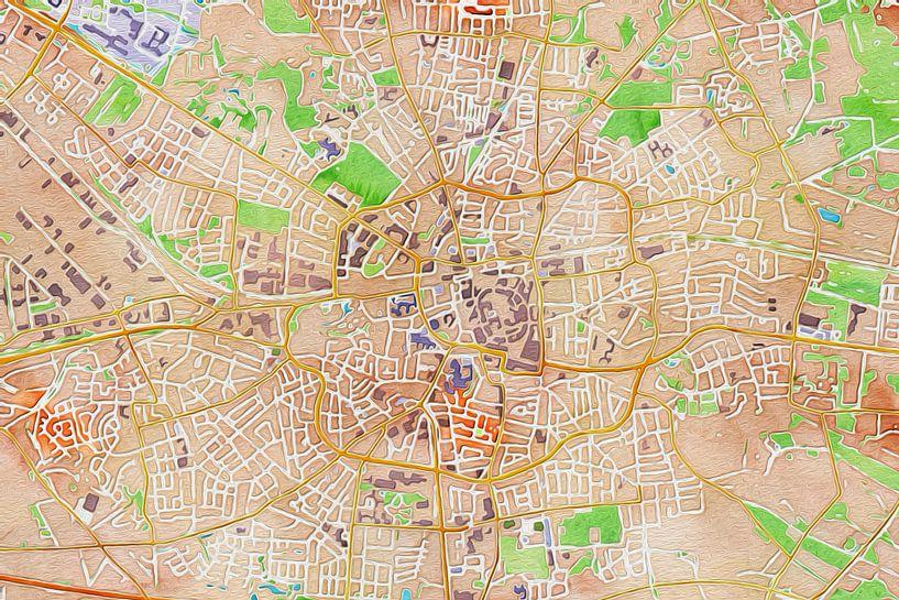 Kleurrijke kaart van Enschede van Stef Verdonk