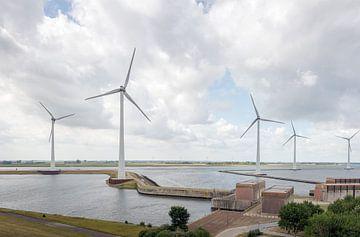 Krammer windpark en sluizencomplex Bruinisse van Ruud Morijn