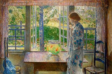 Childe Hassam, Het goudvisvenster, 1916 van Atelier Liesjes