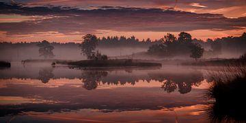 Sonnenaufgang mit Reflexion über den fens Hatertse Vennen von Michel Seelen