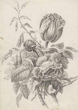 Bouquet de natures mortes en noir et blanc sur