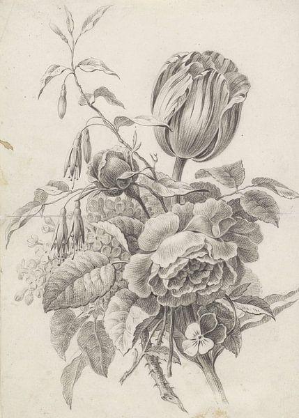 Stilleven boeket in zwart wit van Botanische Prenten