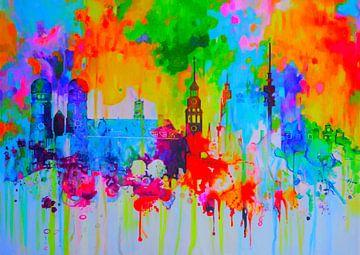 Motiv München Skyline - Original Werk von Felix  Altersheim von Felix von Altersheim