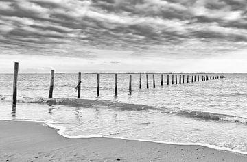 Palen in het water, Maasvlakte strand in zwart-wit van Marjolein van Middelkoop