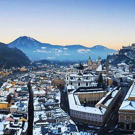 Salzburg Skyline im Sonnenuntergang von Frank Herrmann