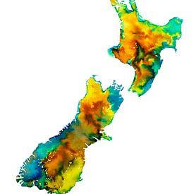 Nieuw Zeeland | Kleurrijke landkaart in aquarel van - Wereldkaarten.shop -