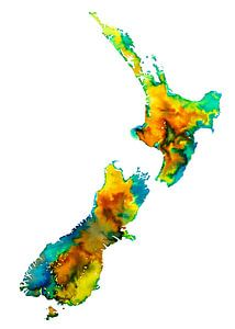 Nieuw Zeeland | Kleurrijke landkaart in aquarel van