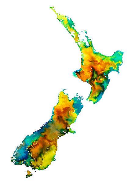 Neuseeland | Buntes Karte in Aquarell von - Wereldkaarten.shop -