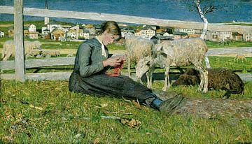 Fille à tricoter, Giovanni Segantini sur