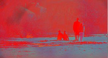 Spaziergang bei Sonnenuntergang van Peter Norden