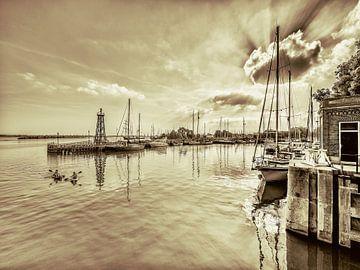 Entree van de haven van Enkhuizen in duotone van Harrie Muis