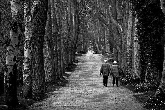 Oud koppel dat samen langs een lange laan wandelt