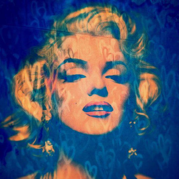 Marilyn Monroe Love Pop Art Blue Green Light