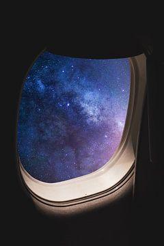 Avion dans l'univers sur