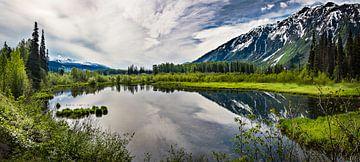Panorama eines spiegelnden Bergsees, Kanada von Rietje Bulthuis