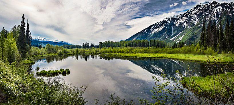Panorama van spiegelend bergmeer, Canada van Rietje Bulthuis