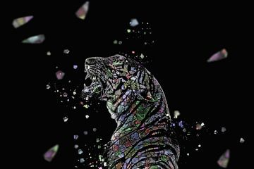 La mosaique du tigre en couleur sur Catherine Fortin