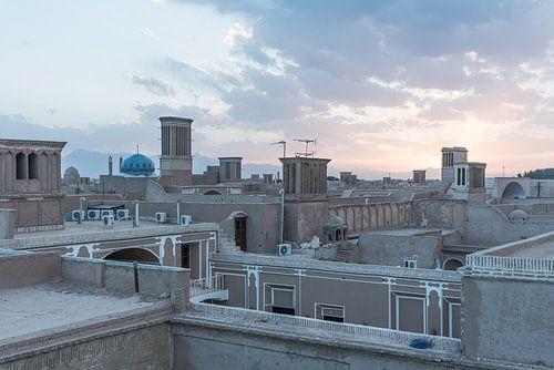 Zonsondergang boven de woestijnstad Yazd | Iran