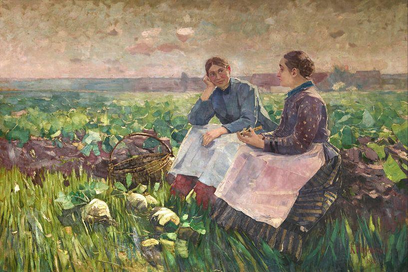 Karl Hagemeister-Zwei Frauen im Rübenfeld von finemasterpiece
