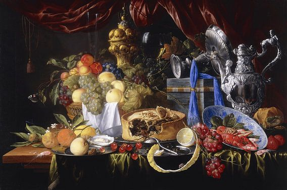 Een Taart op een Tinnen Plaat, kreeften en garnalen, Jan Davidz de Heem