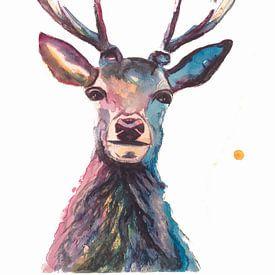 Print van een hert, bijzondere vogel-, bosdier illustratie van Angela Peters
