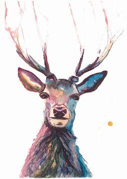 Print van een hert, bijzondere vogel-, bosdier illustratie van