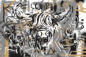 Kopf eines schottischen Highlanders im Street-Art-Stil von Wanddecoratie
