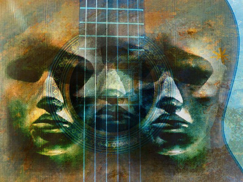 Three faces in the guitar van Gabi Hampe