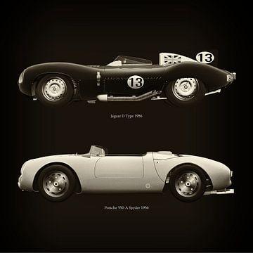 Jaguar D Type 1956 en Porsche 550-A Spyder 1956