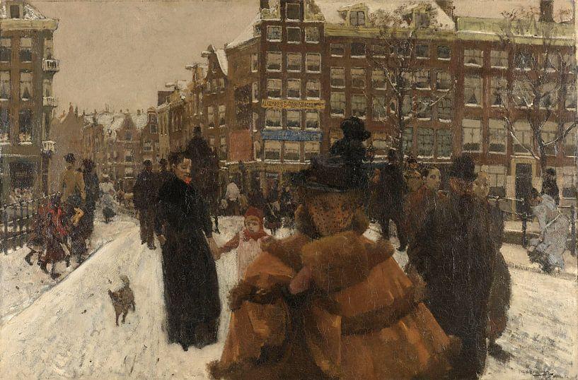 Amsterdam Schilderij, De Singelbrug bij de Paleisstraat in Amsterdam van Schilderijen Nu