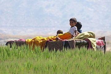 Kinderen op een bed voor hun middagdutje   van Cora Unk