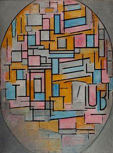 Mondriaan Compositie in Ovaal in het donker van