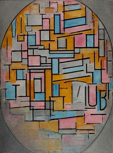 Mondriaan Compositie in Ovaal in het donker van Marieke de Koning