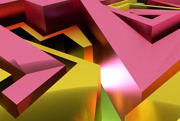 Roze en geel abstract 3D graffiti kunstwerk met vlakken van Pat Bloom - Moderne 3d en abstracte kubistiche kunst