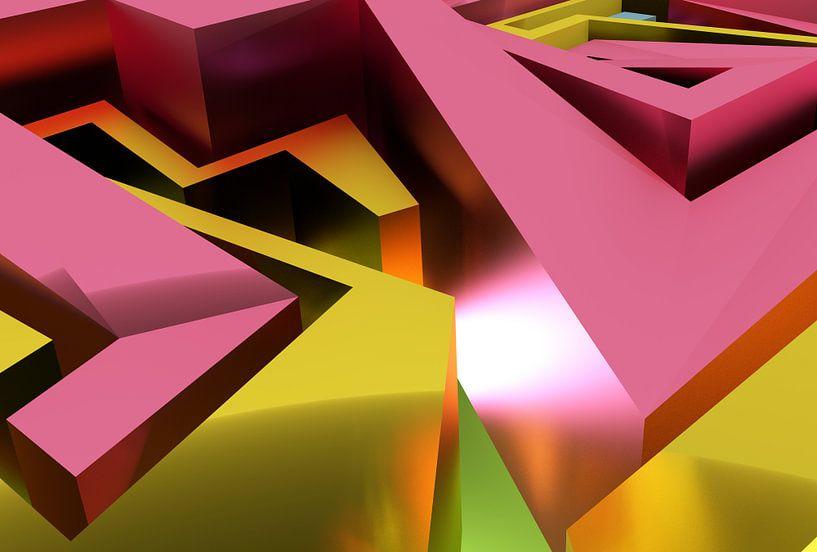 Das Labyrinth - Tez #1-3-2 von Pat Bloom - Moderne 3D, abstracte kubistische en futurisme kunst