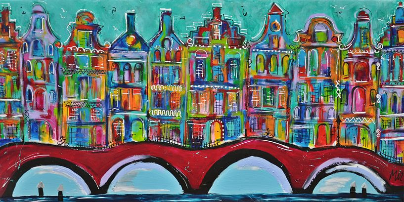 Amsterdamse Grachten  van Kunstenares Mir Mirthe Kolkman van der Klip