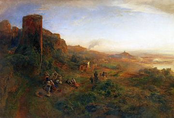 Abend in den Albaner Bergen, OSWALD ACHENBACH, Um 1890 von Atelier Liesjes