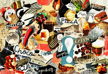 Collage de nourriture pour restaurant fait avec du papier découpé sur Trinet Uzun