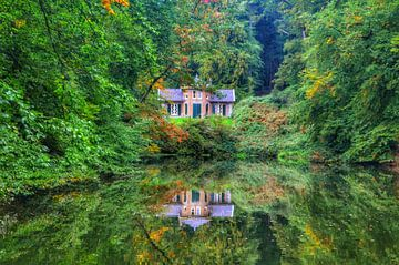 Schönes Spiegelbild der Natur und ein Haus im Wasser von Joyce Derksen