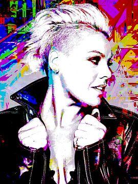 P!nk Pink Modernes abstraktes Porträt in Rosa, Rot, Blau, Grün von Art By Dominic
