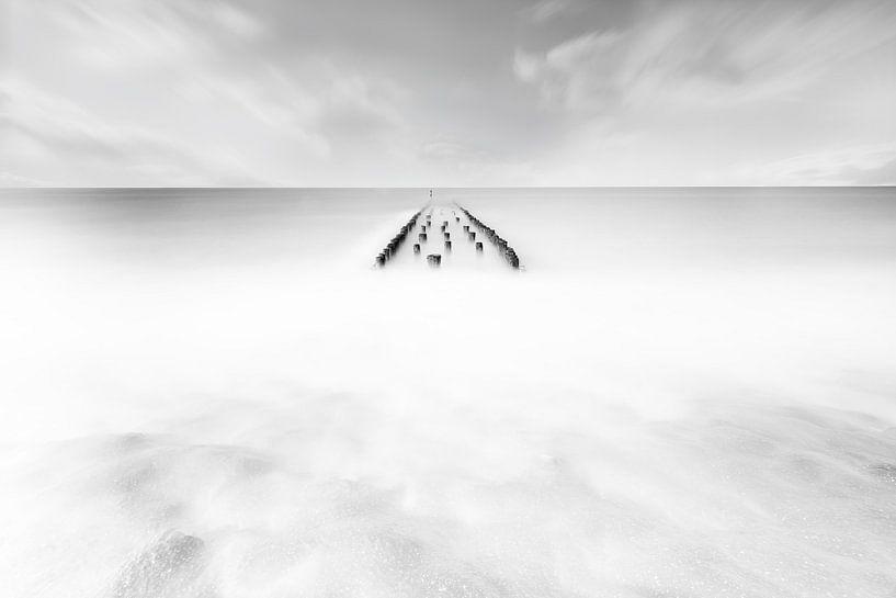 Paalhoofd zwart wit van Vandain Fotografie
