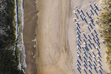 Strand met strandstoelen in Albeck op Usedom aan de Oostzee van Werner Dieterich