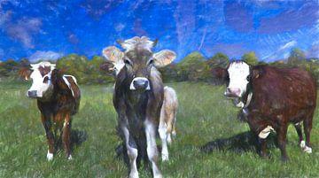 Koeien op een schilderij