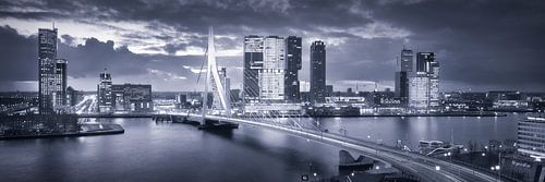 Skyline Rotterdam Erasmusbrug - Midnight Blue van Vincent Fennis