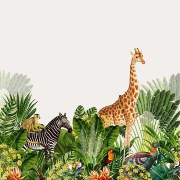 Bohemien afbeelding, botanisch met jungle dieren zoals zebra en giraffe van Studio POPPY