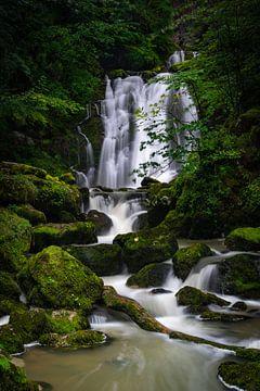 Een prachtige waterval in de Franse Jura (Frankrijk) van Vincent Alkema
