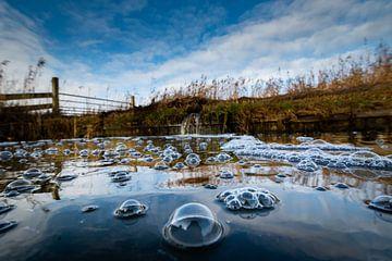 Luchtbellen op water van Johan Vet