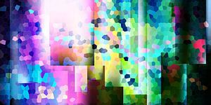 Modernes, abstraktes digitales Kunstwerk in verschiedenen Farben