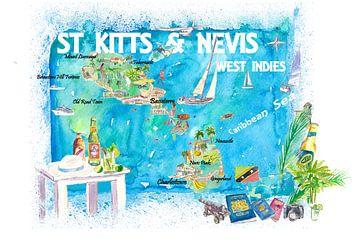 St. Kitts Nevis Antillen Illustrierte Karibik Reisekarte mit Highlights der Westindischen Inseln Tra von Markus Bleichner
