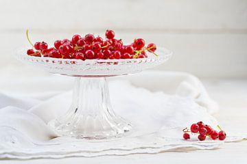 rode bessen in een elegante glazen schaal op een wit tafelkleed, kopieerruimte, geselecteerde soft f van Maren Winter